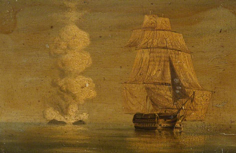 HMS 'Melville' off the Volcanic Graham Island, 1831. British School