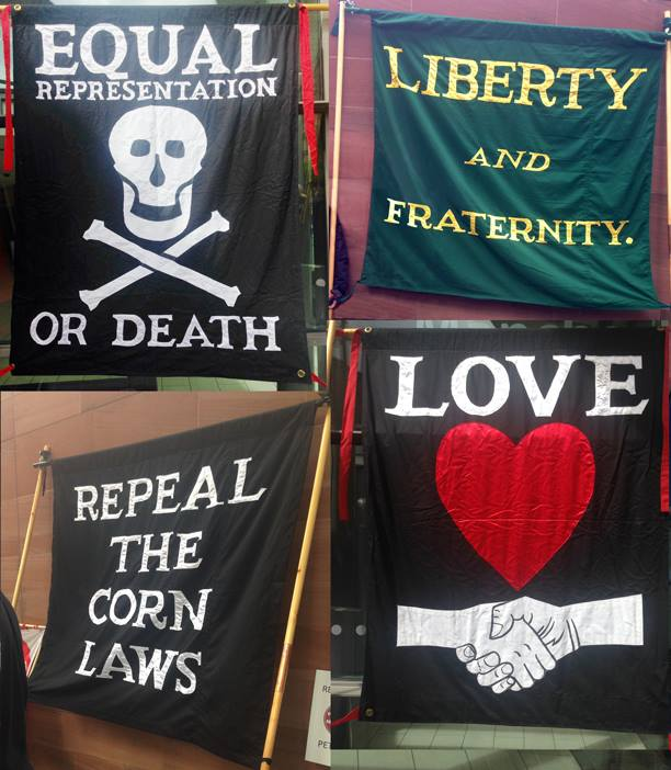 Flags during Peterloo memorial 2014, photo by Catherine Booth
