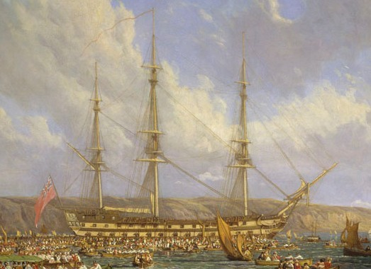'Scene in Plymouth sound in August 1815' oil on canvas by John James Chalon, 1816. Source: Wikicommons