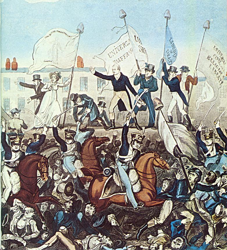 Engraving by Richard Carlile. All the poles from which banners are flying have Phrygian caps or liberty caps on top.
