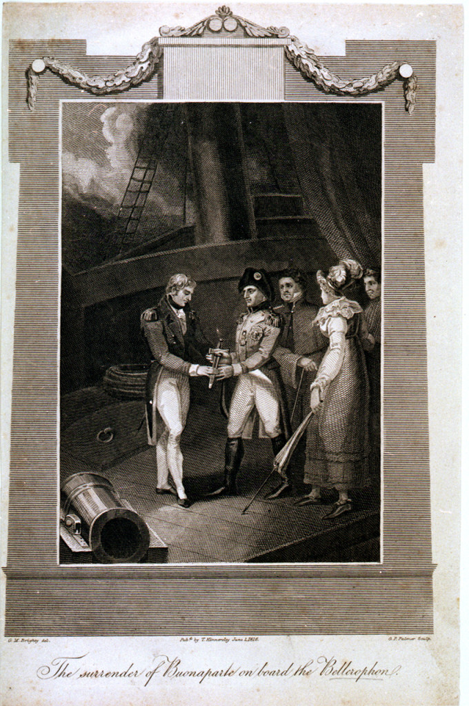 The Surrender of Buonaparte on Board the Bellerophon, 1816 print by G. M. Brighty, imagining the moment of Napoleon's surrender to Captain Maitland