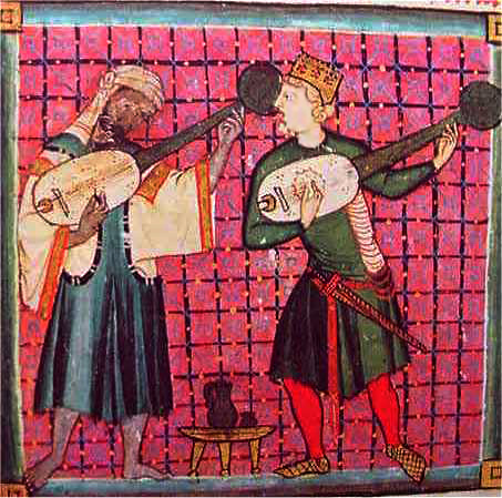 Miniature from Cantiga 120 (Alfonso X), from supramusica.com via Wikimedia Commons